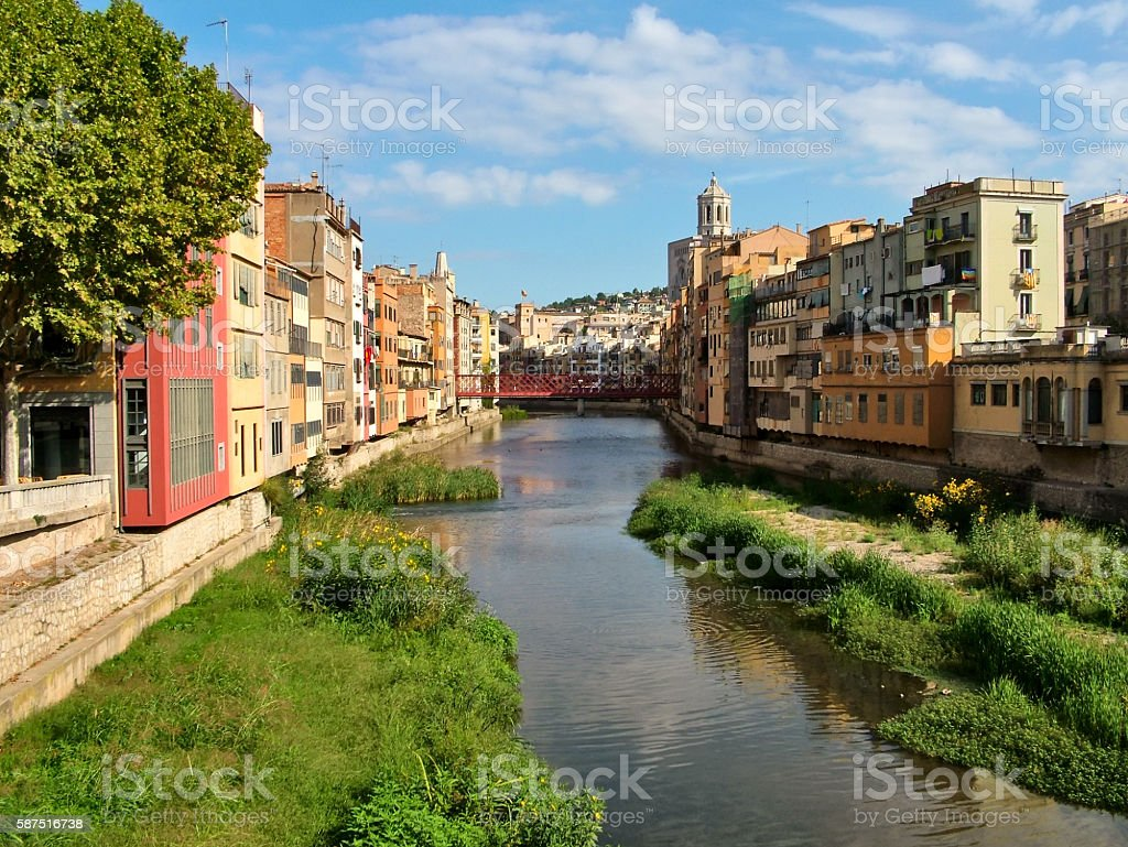 Girona, Houses, river, bridge, windows stock photo