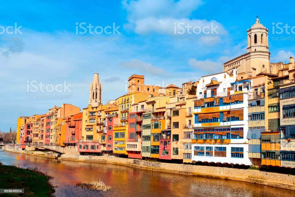 Girona, in Spain, and Onyar River stock photo