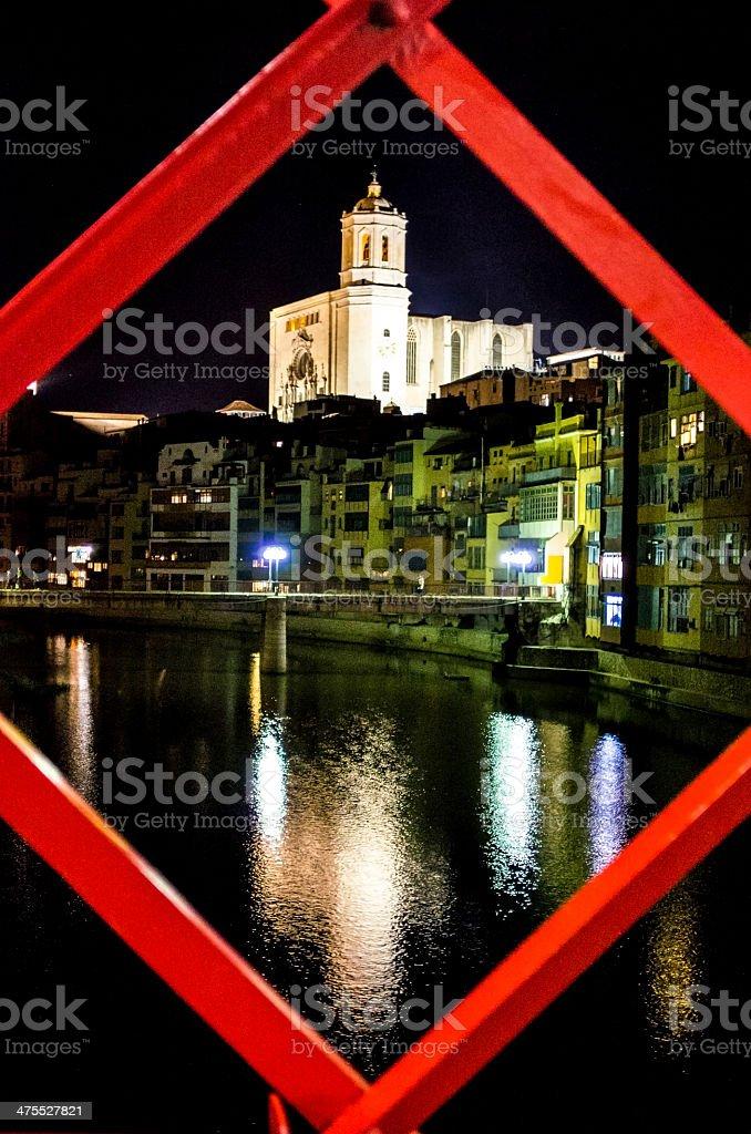 Girona night metal red bridge river reflection peixateries velles frame stock photo