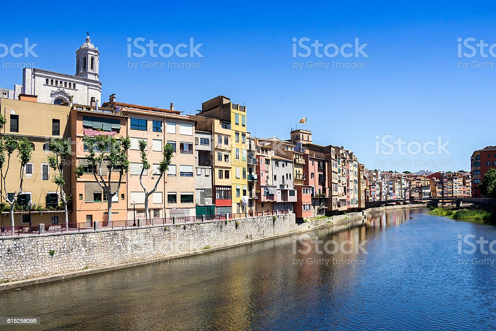 Girona picturesque small town with Colorful houses and ancient C stock photo