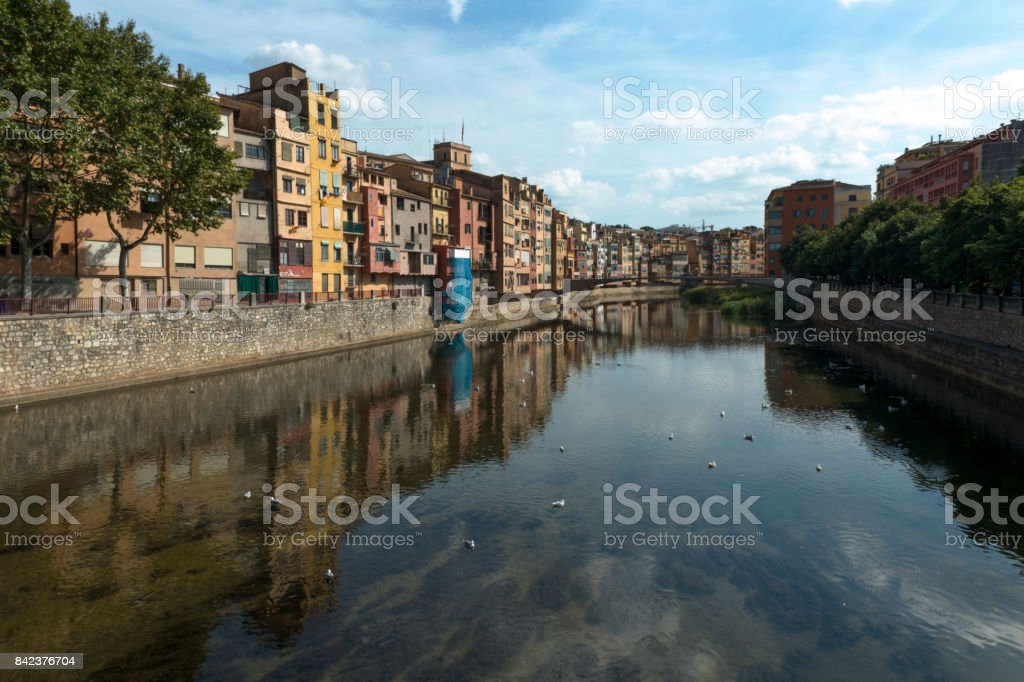 Girona riverhouses stock photo
