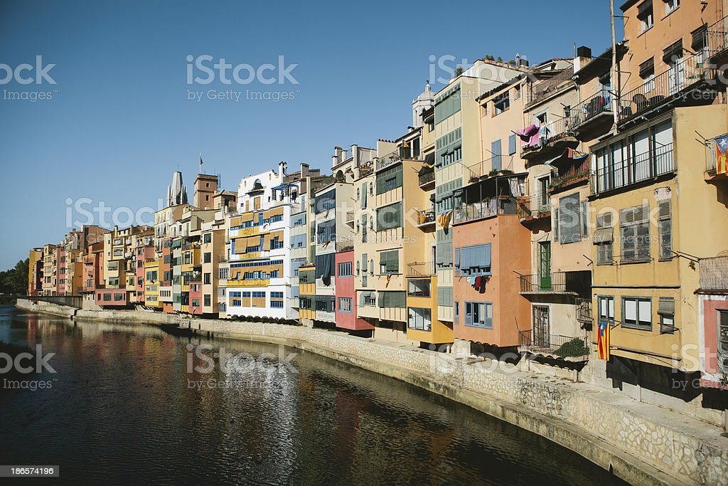 Girona Riverside stock photo