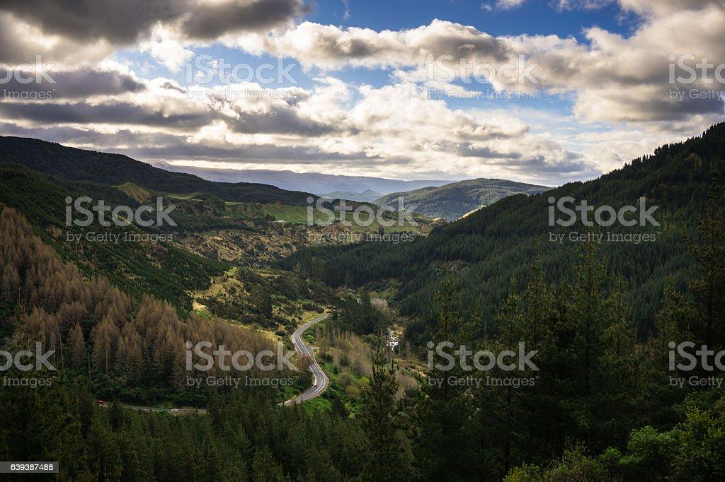 Gisborne-Napier Road Winding through Mountain Pass, New Zealand stock photo