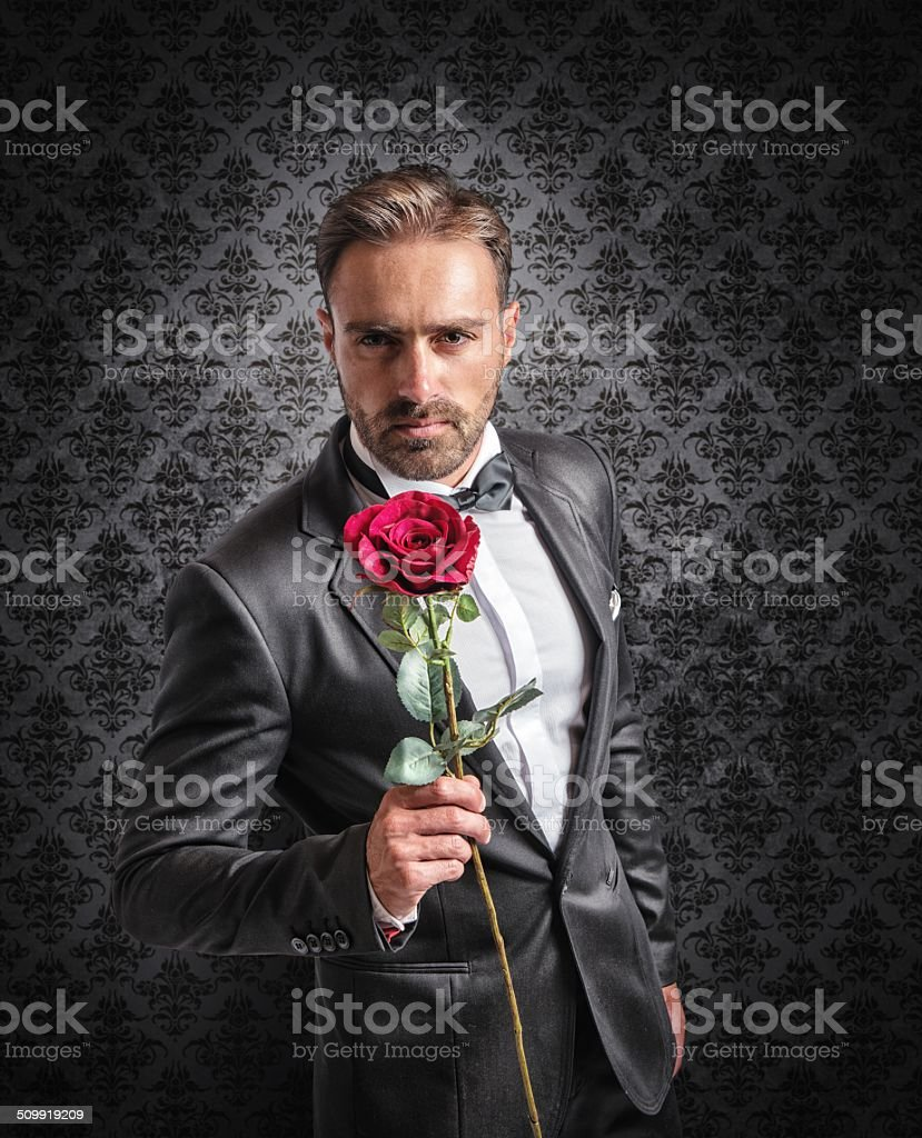 Give a rose on the anniversary stock photo