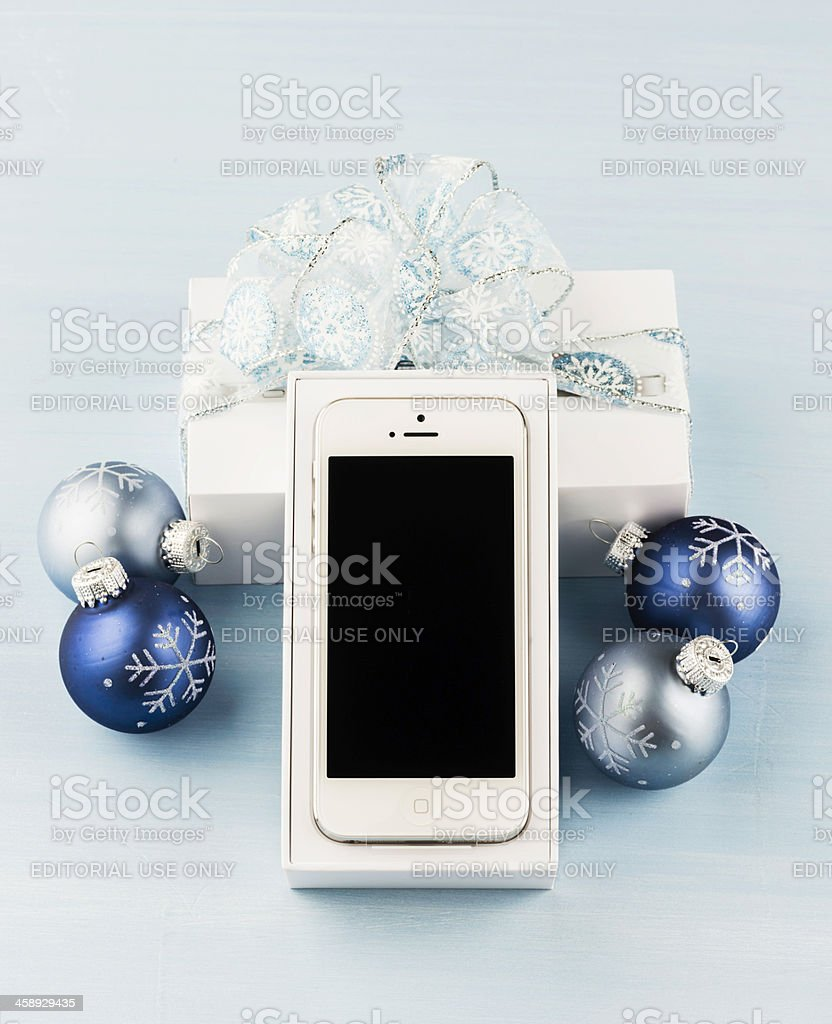 Give an iPhone 5 for Christmas royalty-free stock photo