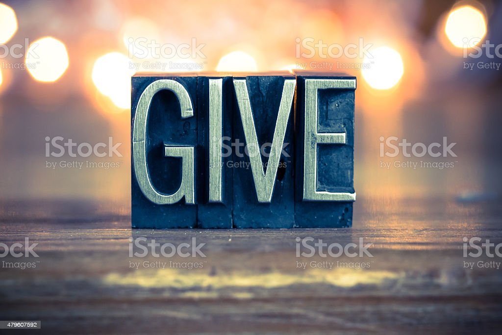 Give Concept Metal Letterpress Type stock photo