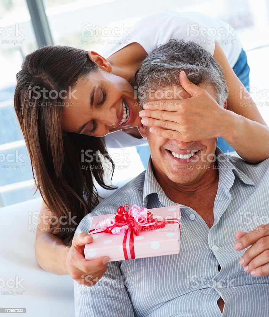 Give him a special surprise! stock photo