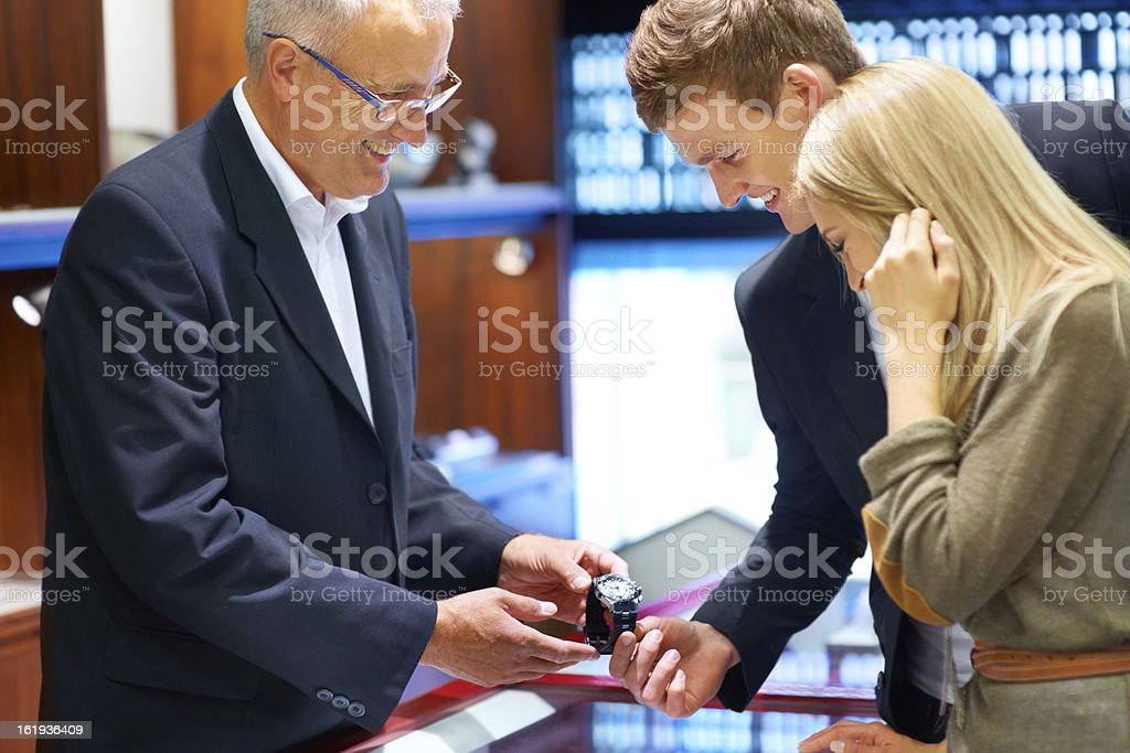 Give him the gift of time royalty-free stock photo