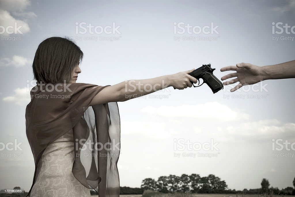 Give me the gun (retro style) stock photo