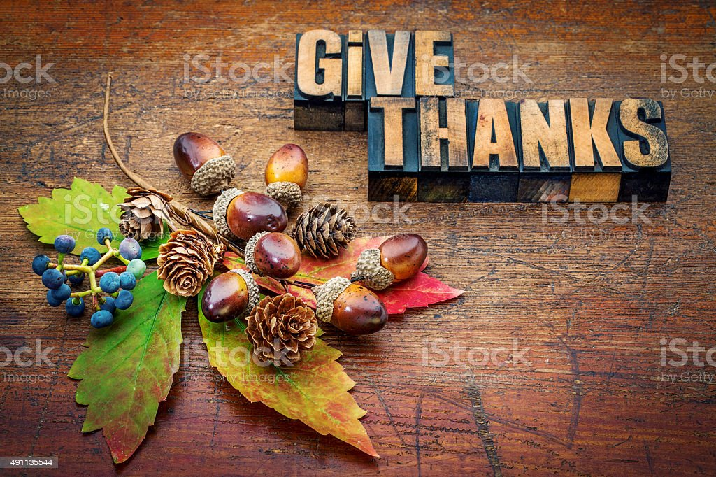 give thanks - Thanksgiving concept stock photo