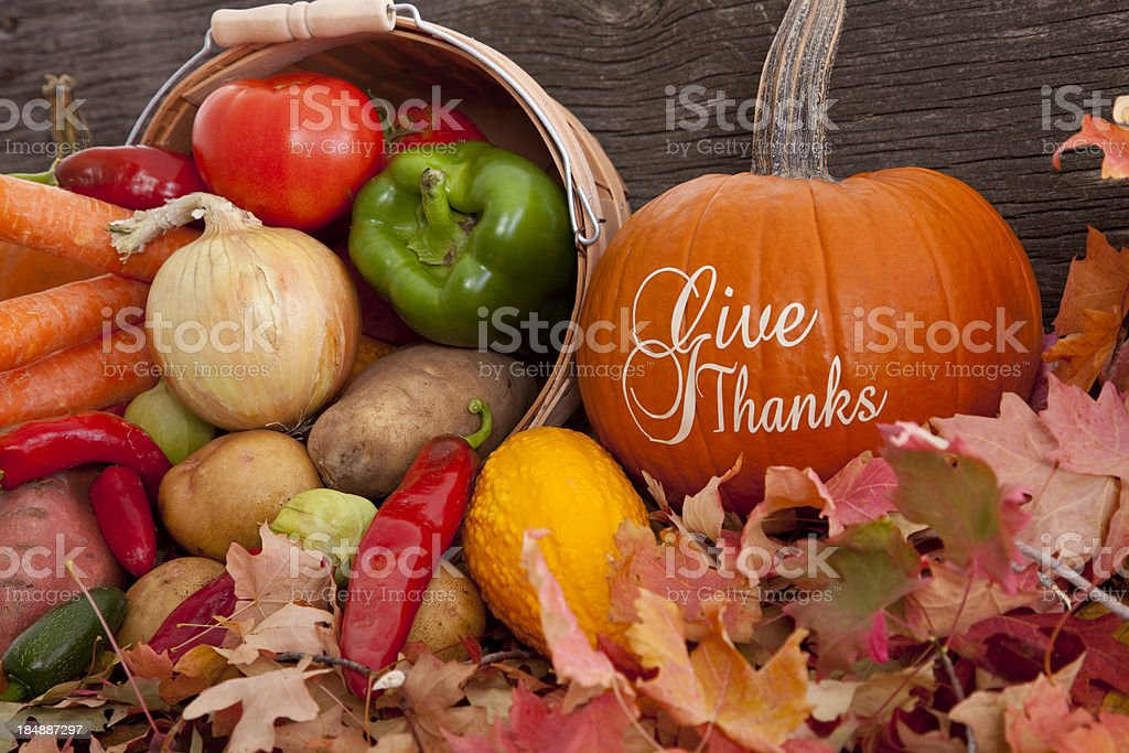 Give Thanks - Thanksgiving Theme With Fresh Produce stock photo