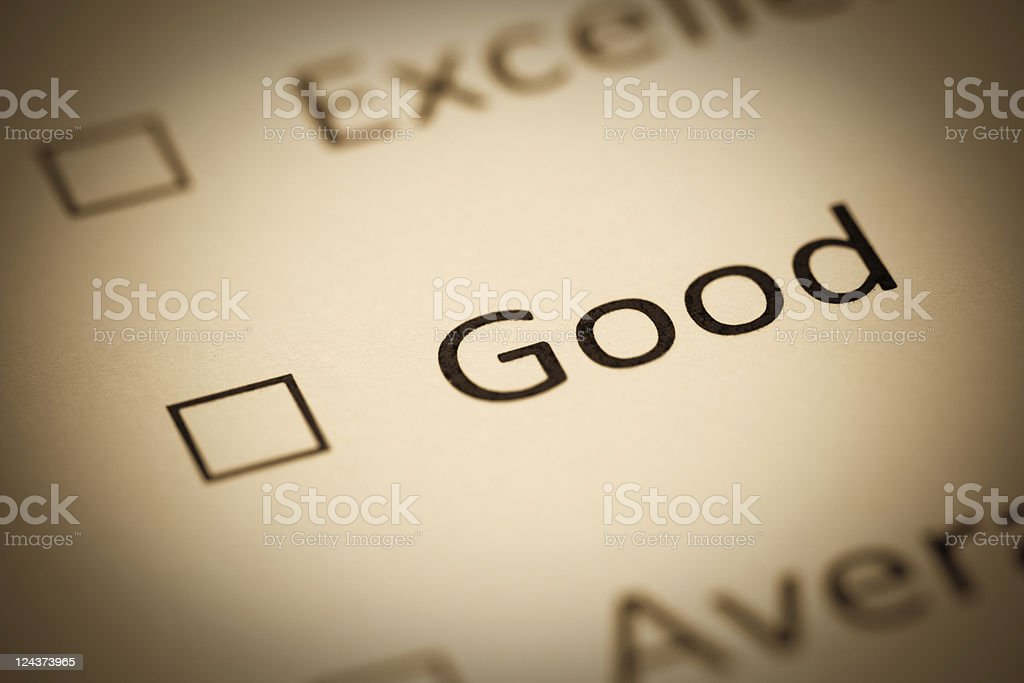 Give us your Opinion, Excellent, Good, Average, Antique Grayscale stock photo