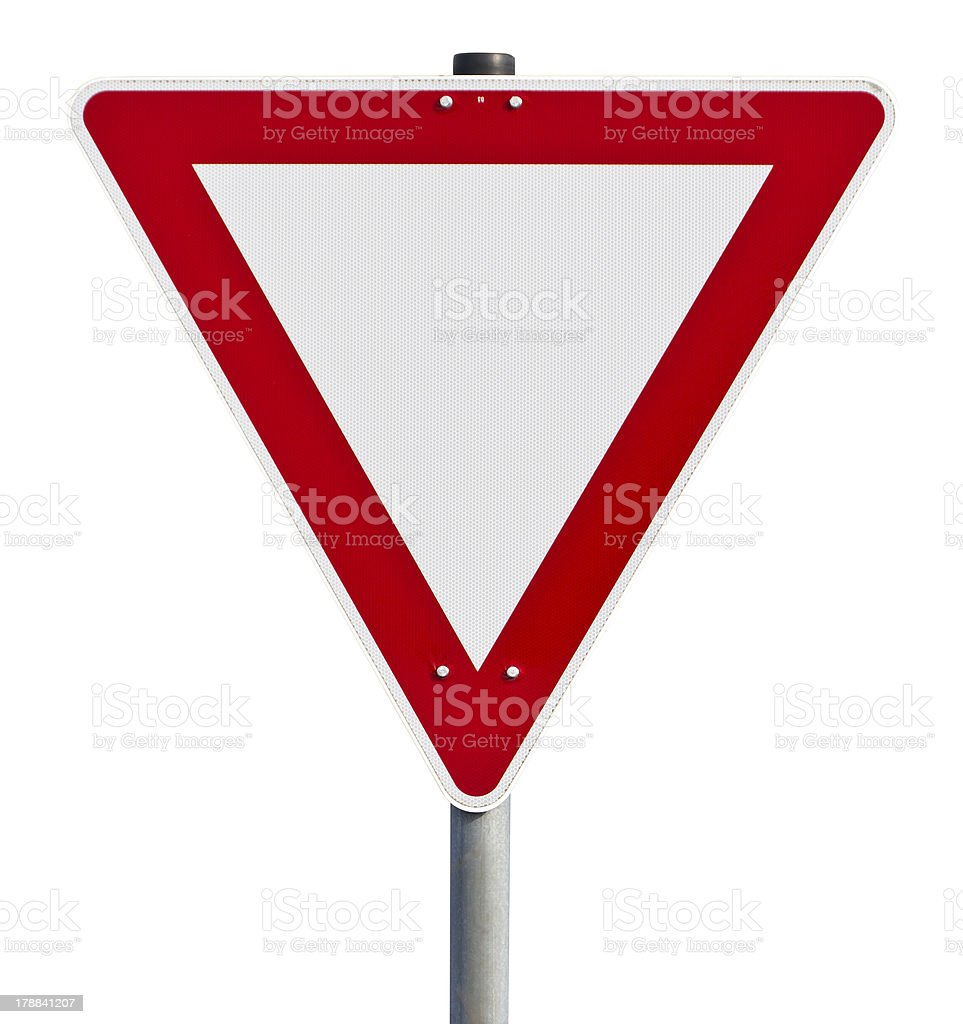 Give way - traffic sign (clipping path included) stock photo
