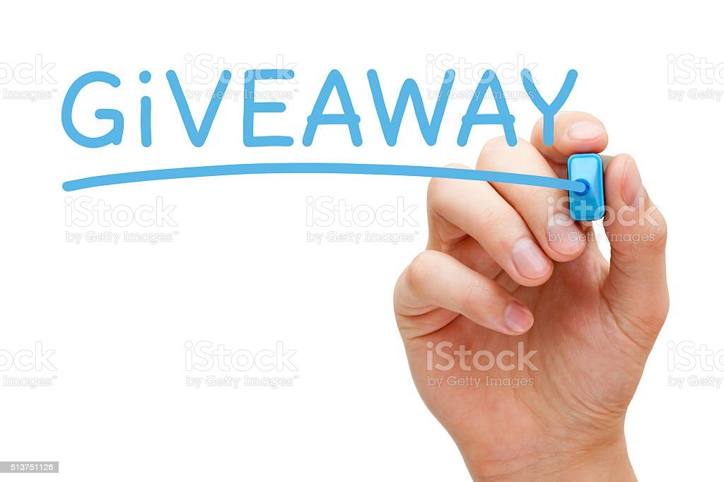 Giveaway Blue Marker stock photo