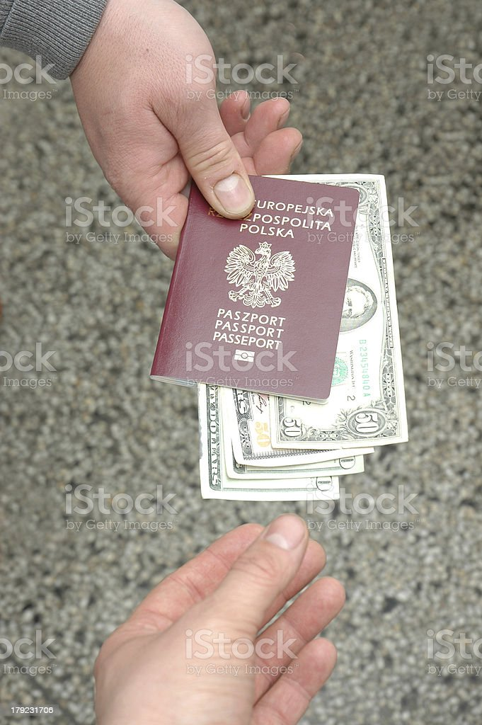 Giving a bribe royalty-free stock photo