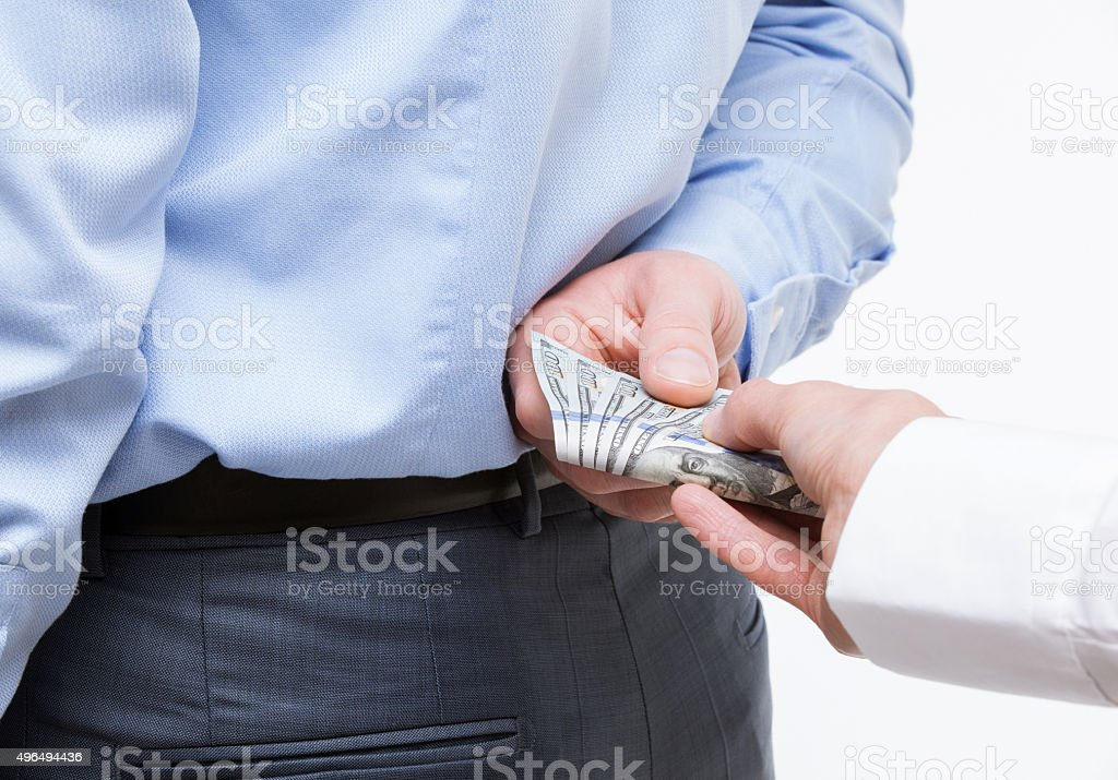 Giving a bribe stock photo