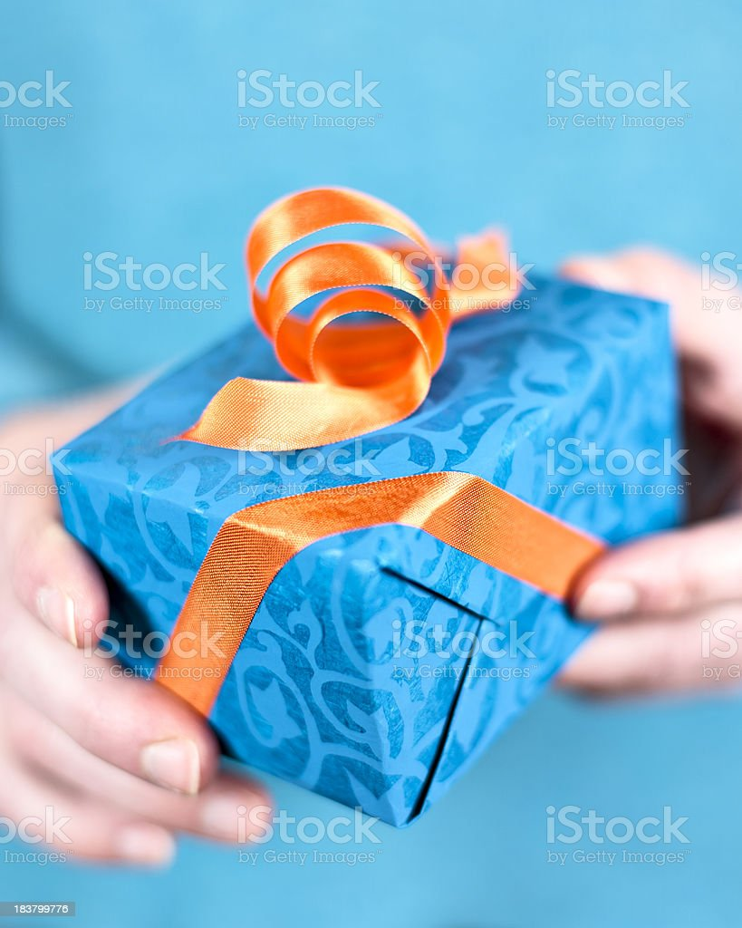 Giving a gift royalty-free stock photo