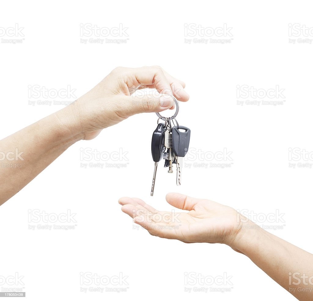 Giving a key car stock photo