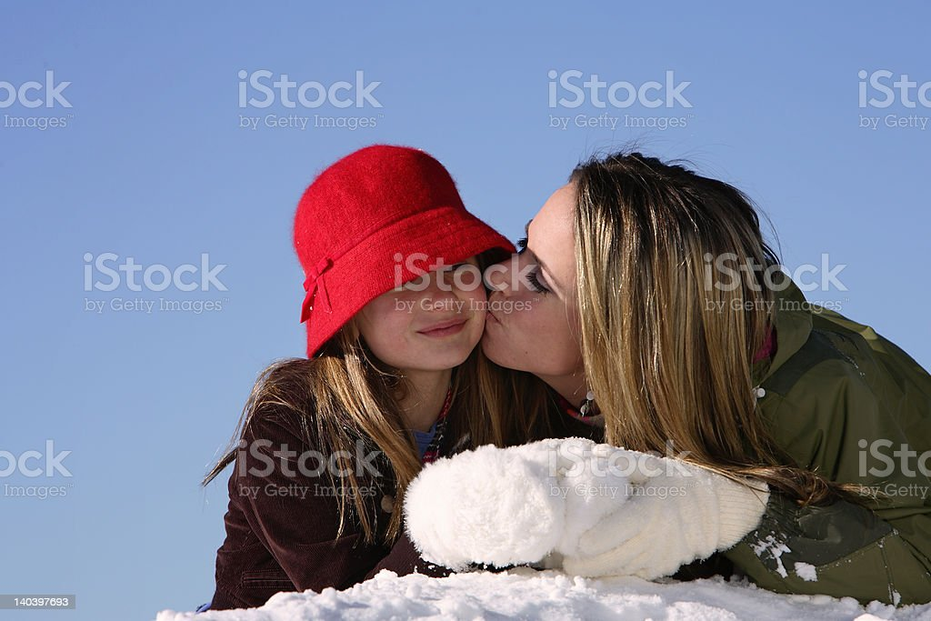 Giving a kiss royalty-free stock photo