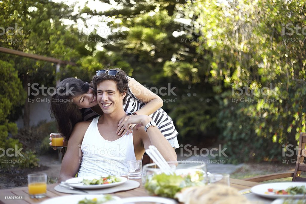 Giving a kiss to my love royalty-free stock photo