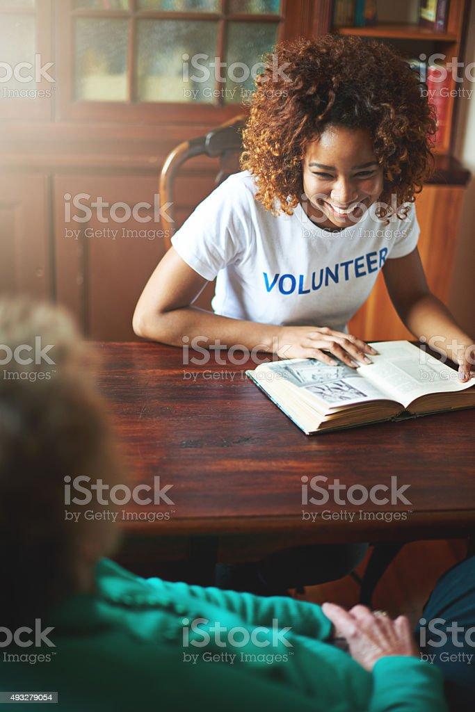 Giving a little goes a long way stock photo