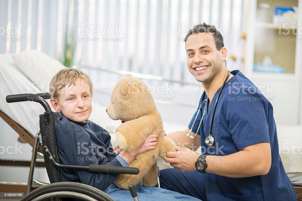 Giving a Teddy Bear as a Gift stock photo