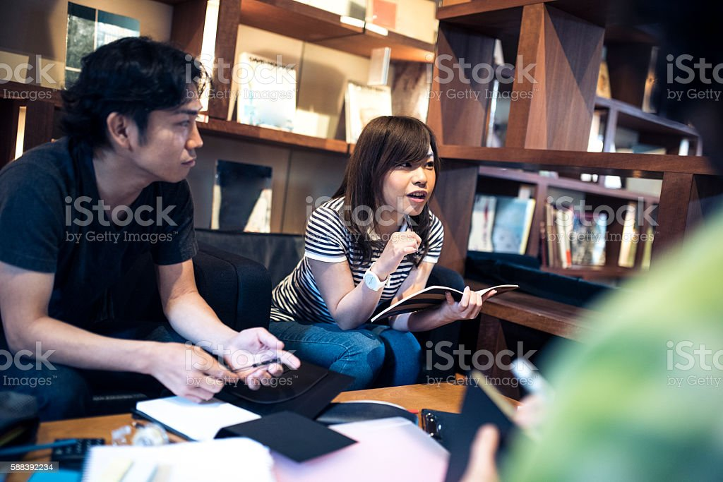 Giving an explanation stock photo
