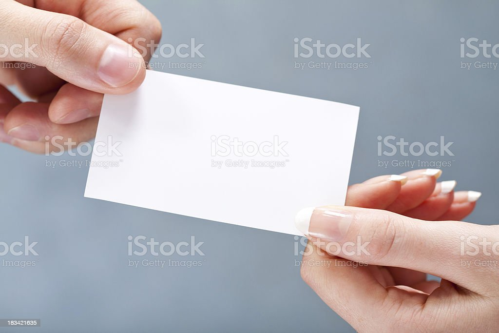 Giving blank business card royalty-free stock photo