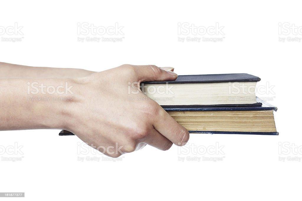 Giving books stock photo