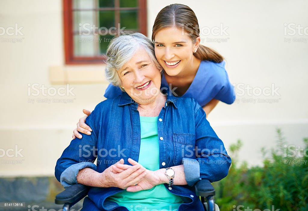 Giving care to the best of her abilities stock photo
