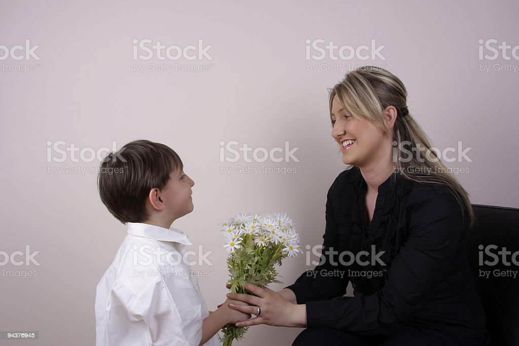 Giving Daisy Mothers Day royalty-free stock photo