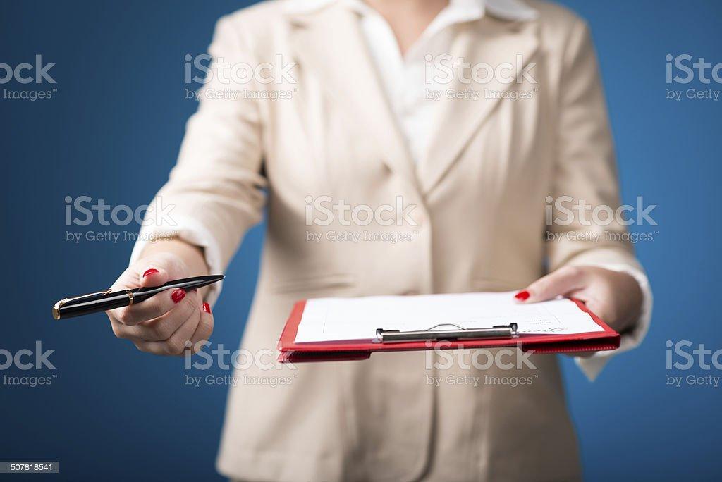 Giving document stock photo