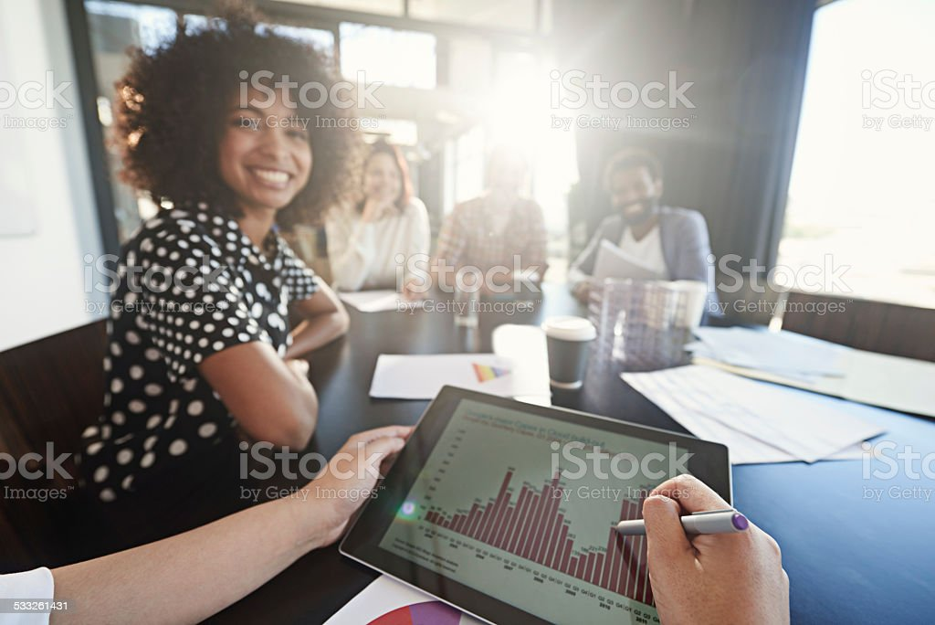 Giving feedback to the team stock photo