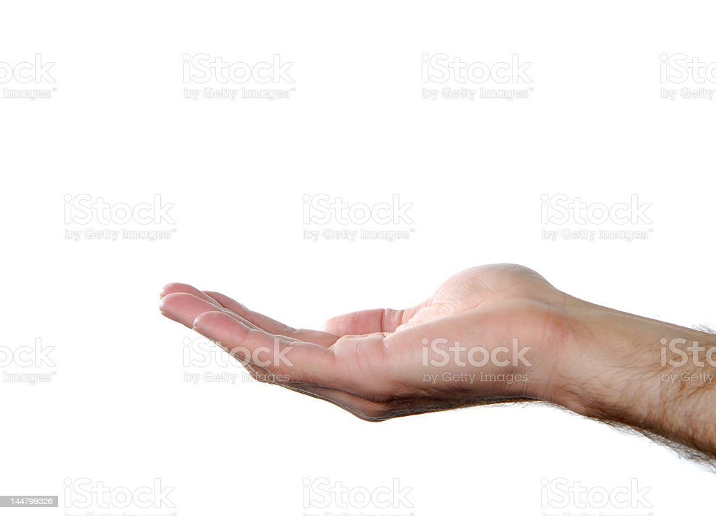 Giving hand on white background stock photo