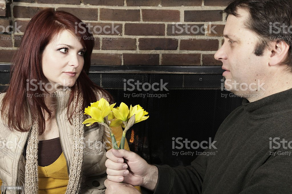 Giving Her Flowers royalty-free stock photo