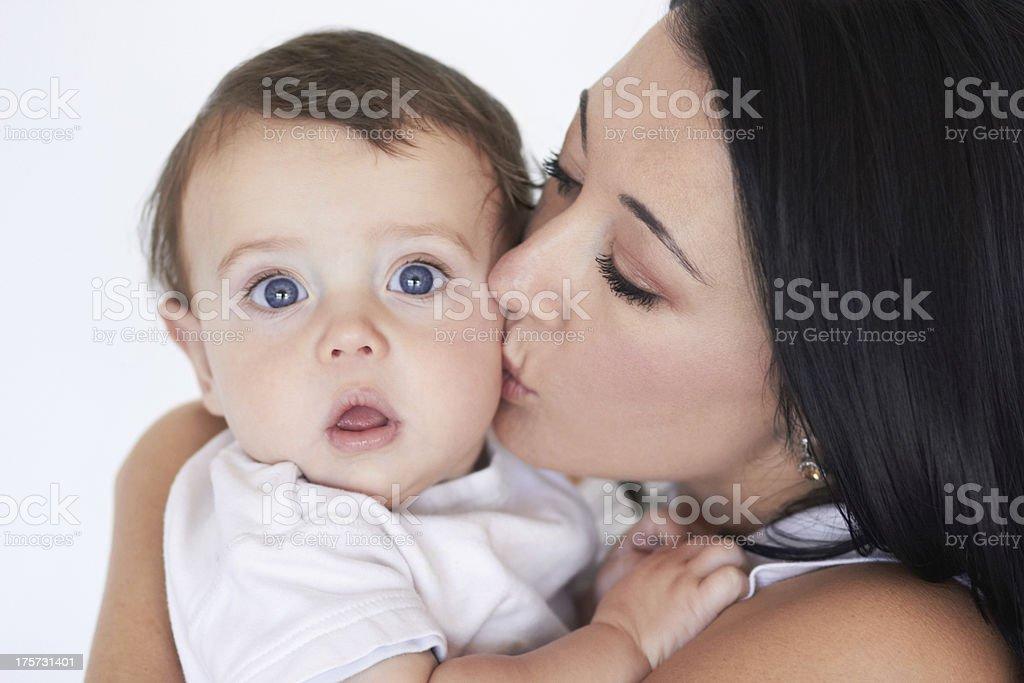 Giving him a loving kiss royalty-free stock photo