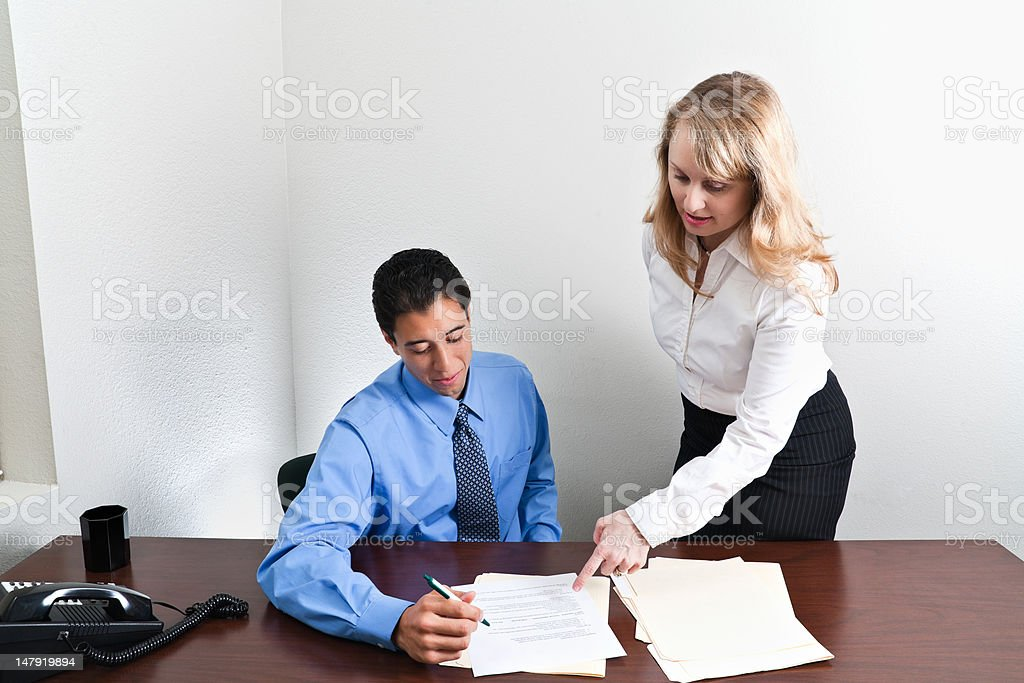 Giving Instructions royalty-free stock photo