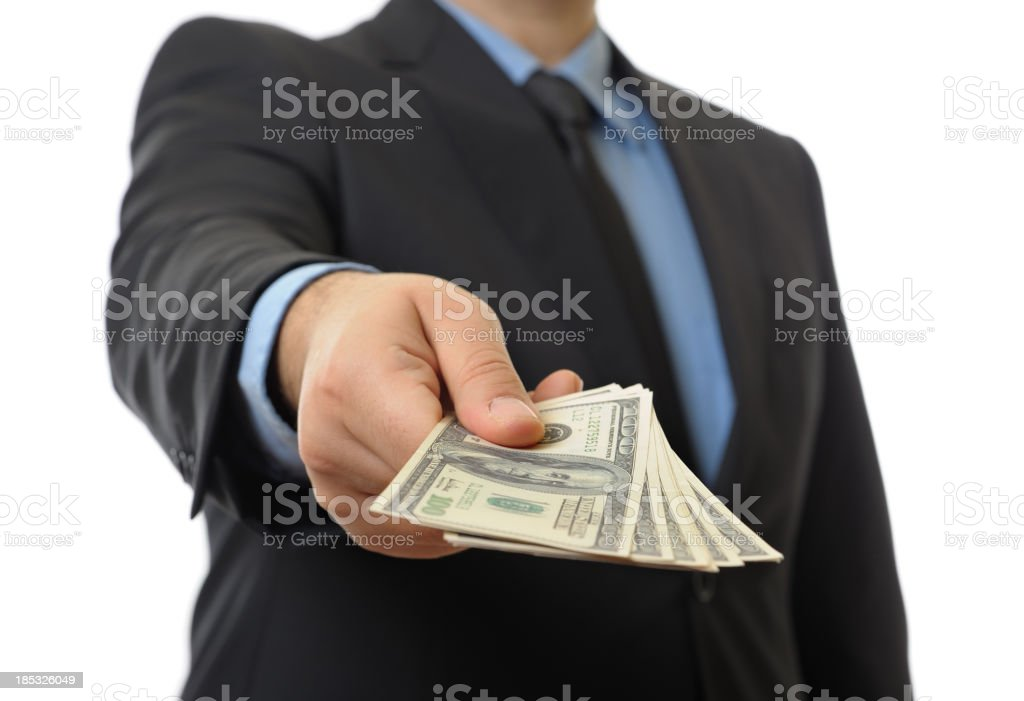 Giving money stock photo