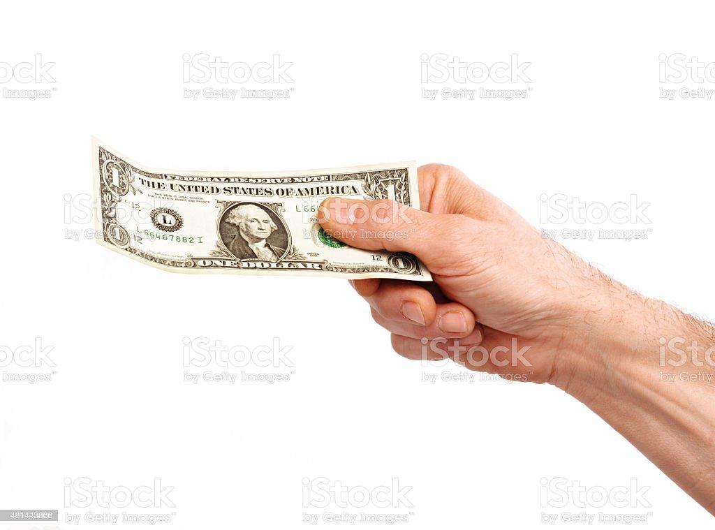 Giving money. stock photo