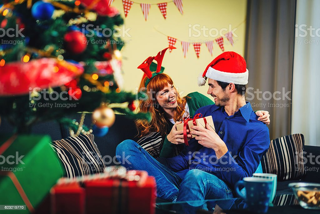 Giving my boyfriend what he wants for Christmas stock photo