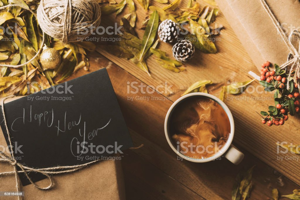 Giving presents, New Year table top flat lay stock photo