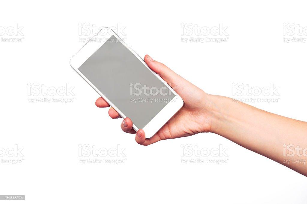 Giving smartphone stock photo