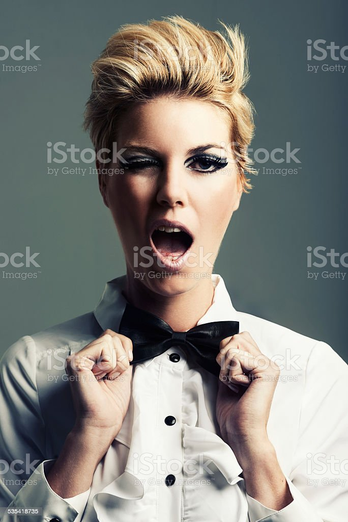 Giving style her own twist stock photo