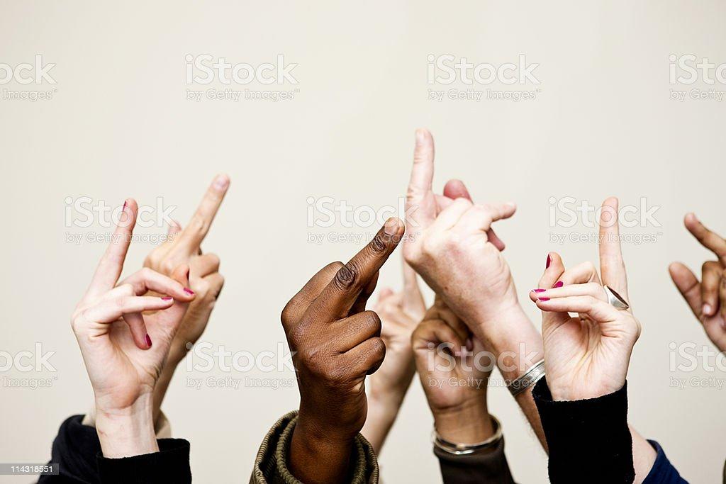 Giving the finger stock photo