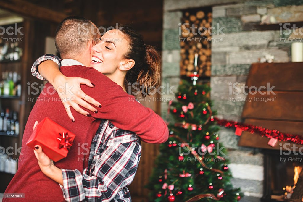 giving the present to the girlfriend stock photo