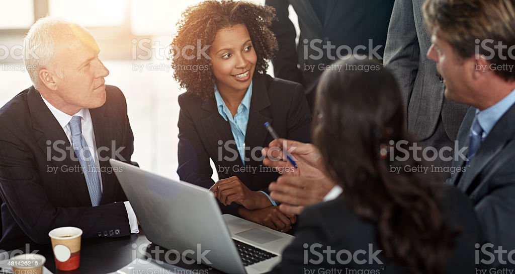 Giving them the details stock photo
