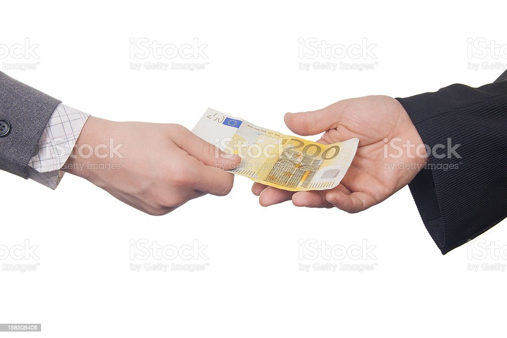Giving Two Hundred Euro Banknote (isolated) royalty-free stock photo