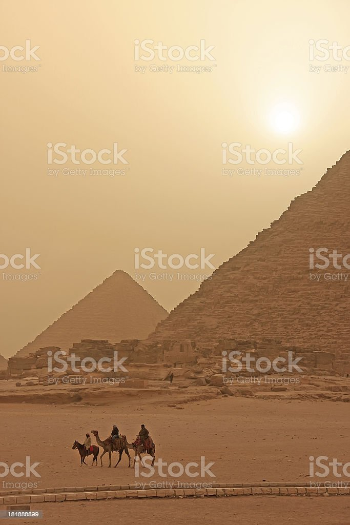 Giza Plateau in a sand storm, Cairo royalty-free stock photo