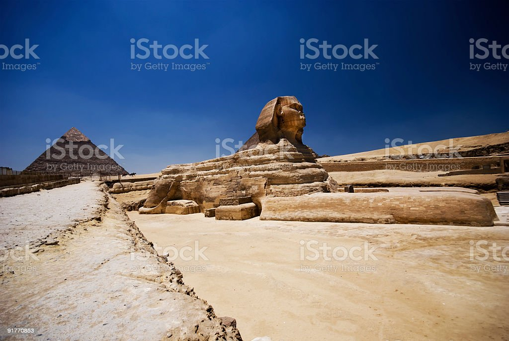 Giza Pyramid and the Sphynx royalty-free stock photo