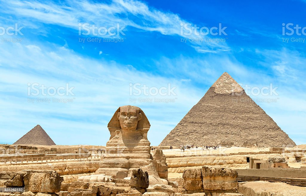 Giza Pyramids And Sphinx in Cairo, Egypt stock photo